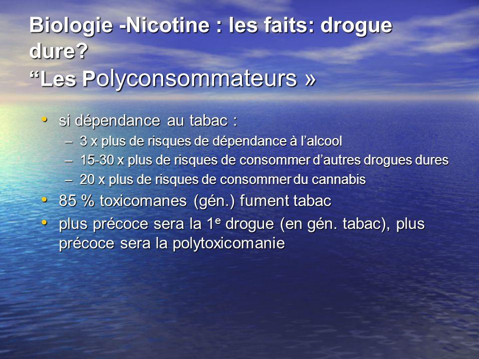 Biologie -Nicotine : les faits: drogue dure? Les P olyconsommateurs » si dépendance au tabac : si dépendance au tabac : –3 x plus de risques de dépend