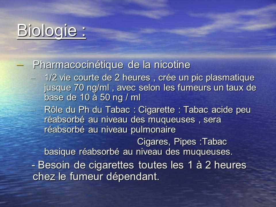 Biologie : – Pharmacocinétique de la nicotine – 1/2 vie courte de 2 heures, crée un pic plasmatique jusque 70 ng/ml, avec selon les fumeurs un taux de