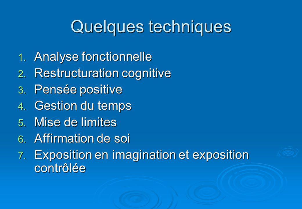 Quelques techniques 1.Analyse fonctionnelle 2. Restructuration cognitive 3.