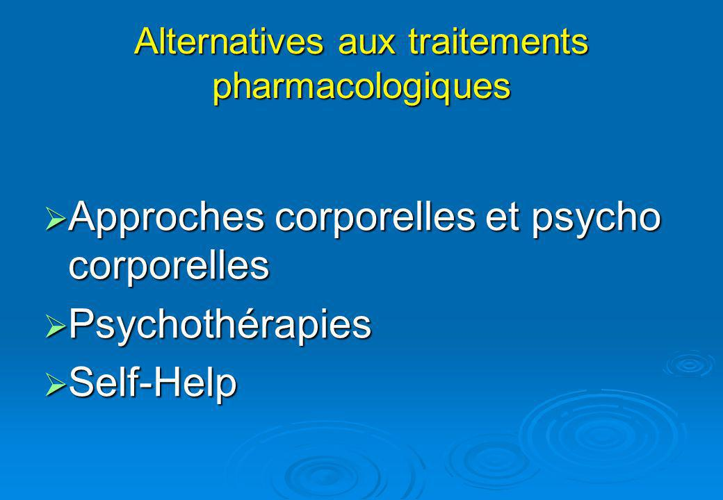 Alternatives aux traitements pharmacologiques Approches corporelles et psycho corporelles Approches corporelles et psycho corporelles Psychothérapies Psychothérapies Self-Help Self-Help
