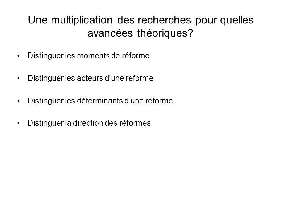 Une multiplication des recherches pour quelles avancées théoriques? Distinguer les moments de réforme Distinguer les acteurs dune réforme Distinguer l