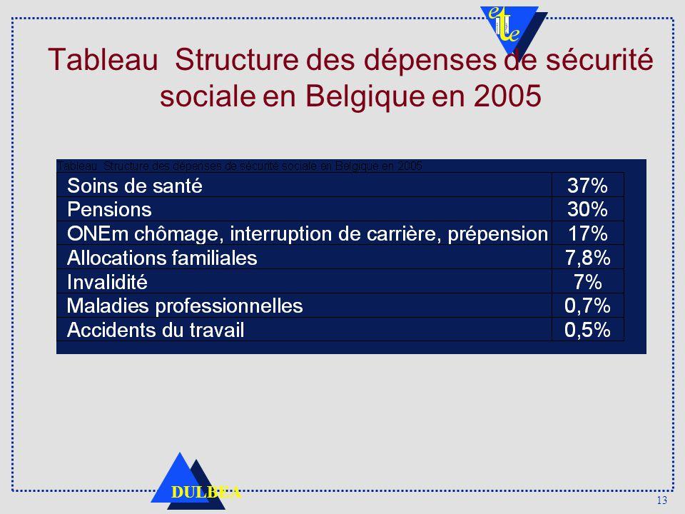 13 DULBEA Tableau Structure des dépenses de sécurité sociale en Belgique en 2005