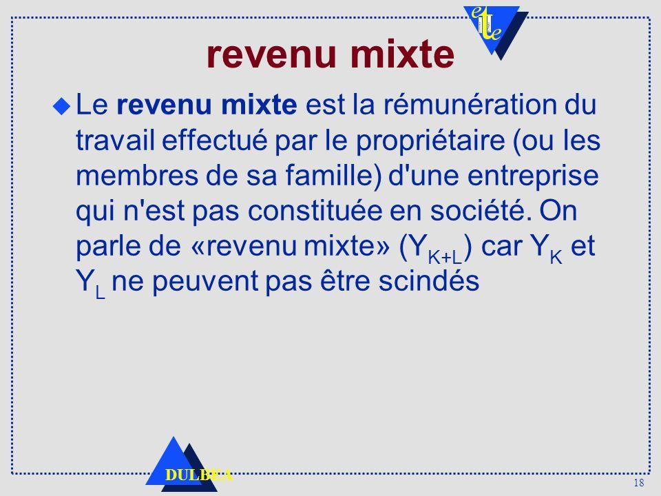 18 DULBEA revenu mixte Le revenu mixte est la rémunération du travail effectué par le propriétaire (ou les membres de sa famille) d une entreprise qui n est pas constituée en société.