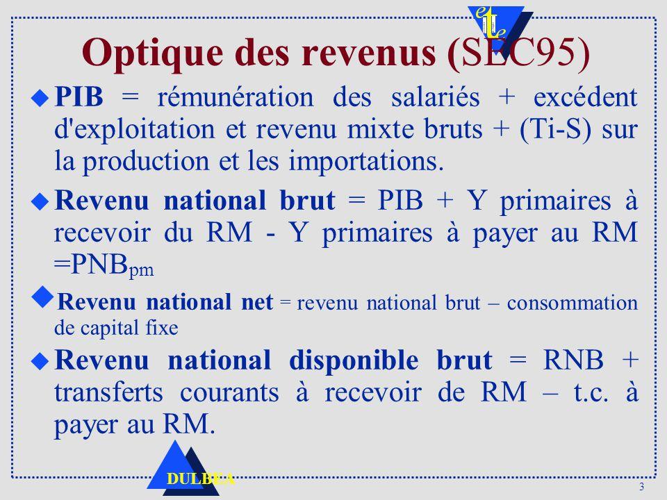 3 DULBEA Optique des revenus (SEC95) u PIB = rémunération des salariés + excédent d exploitation et revenu mixte bruts + (Ti-S) sur la production et les importations.