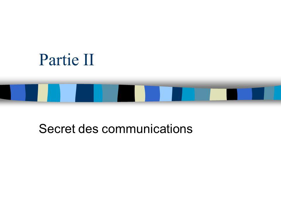 Partie II Secret des communications