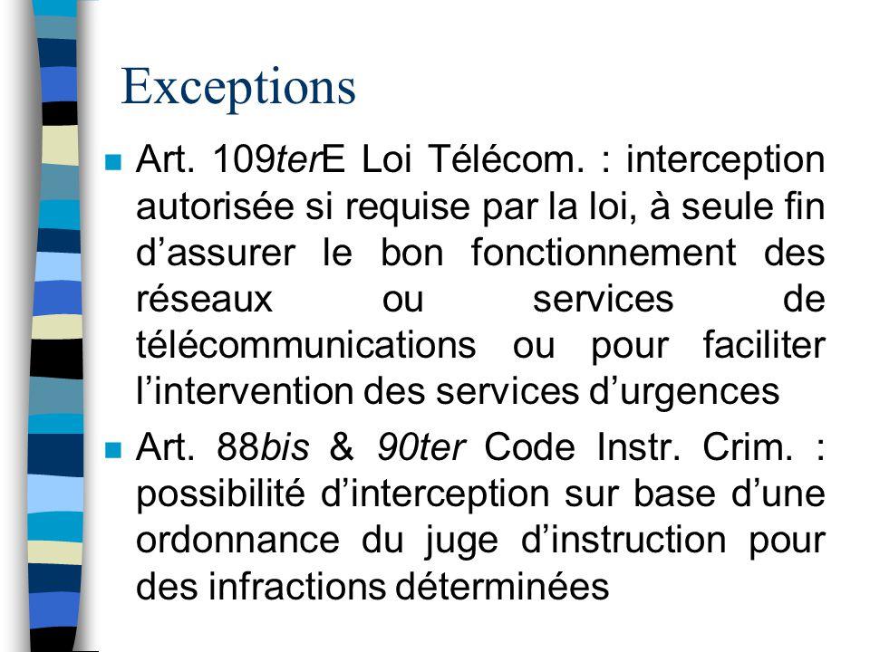 Exceptions n Art. 109terE Loi Télécom. : interception autorisée si requise par la loi, à seule fin dassurer le bon fonctionnement des réseaux ou servi