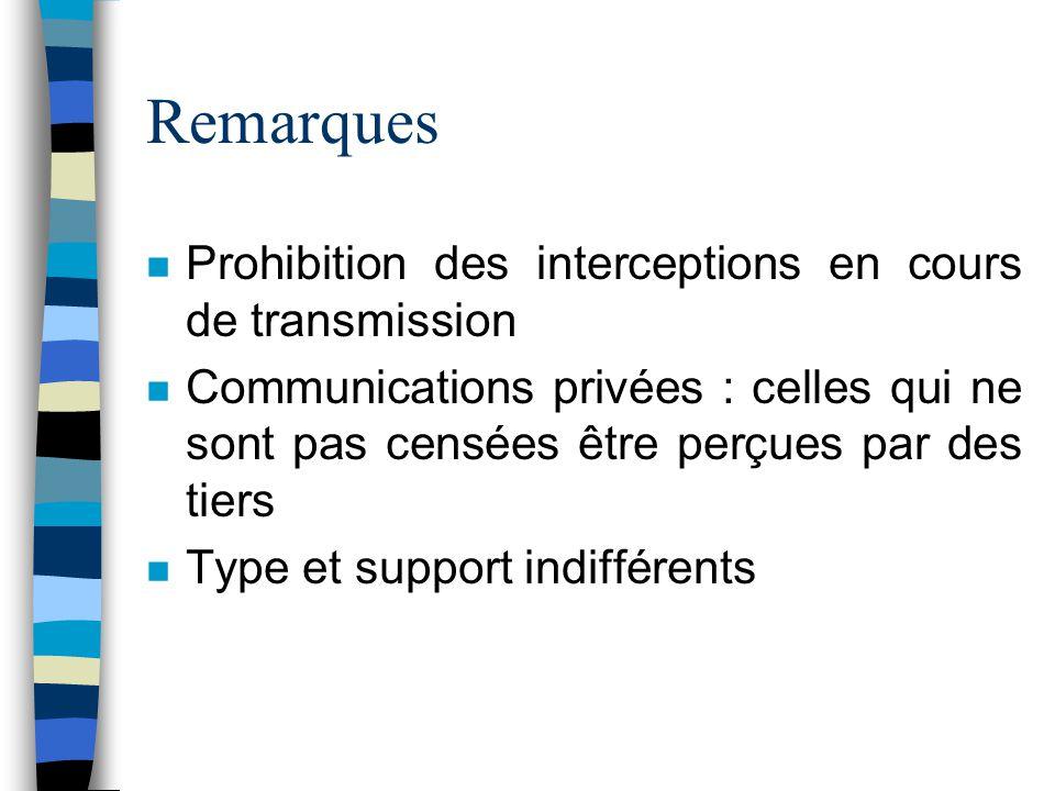 Remarques n Prohibition des interceptions en cours de transmission n Communications privées : celles qui ne sont pas censées être perçues par des tier