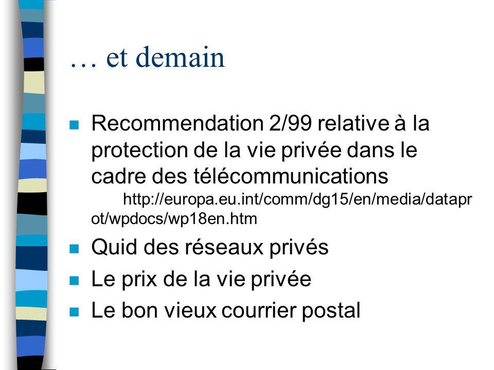 … et demain n Recommendation 2/99 relative à la protection de la vie privée dans le cadre des télécommunications http://europa.eu.int/comm/dg15/en/med