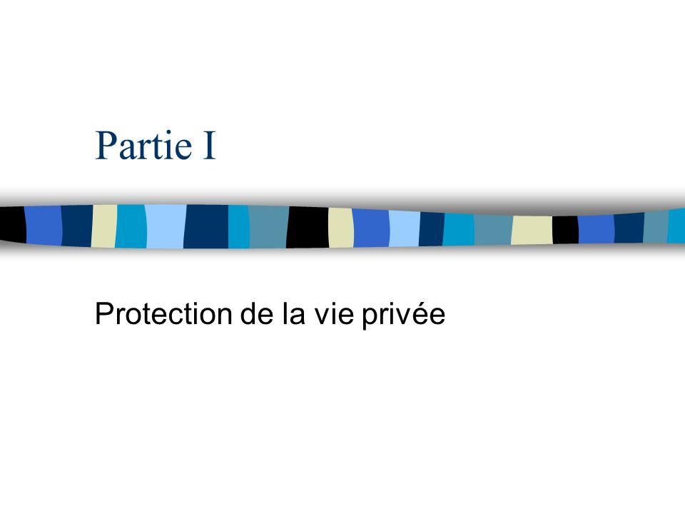 Partie I Protection de la vie privée