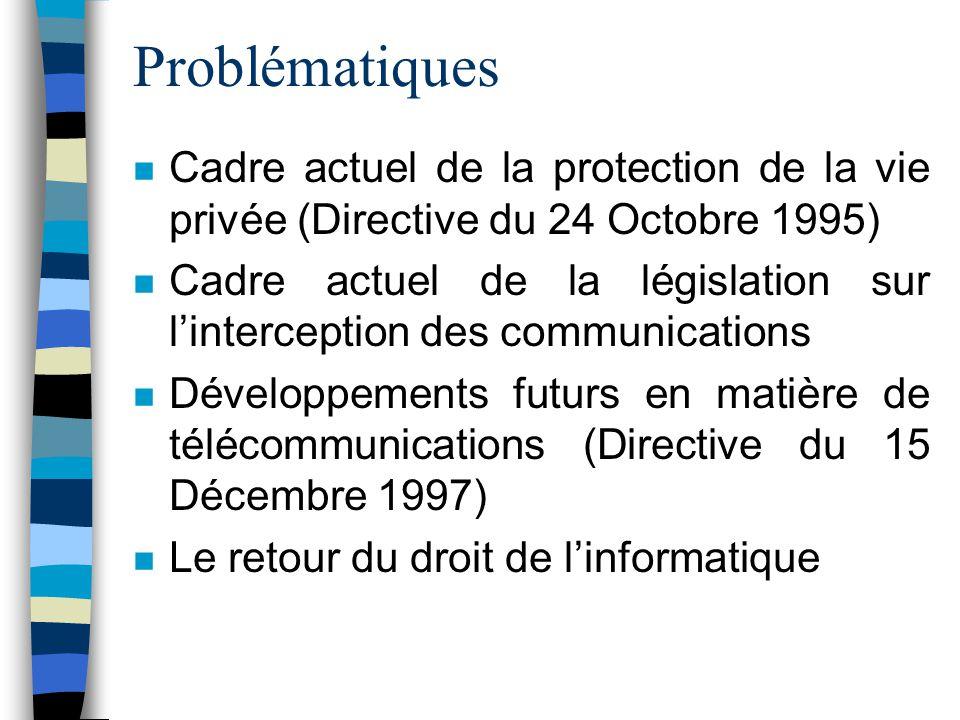 Problématiques n Cadre actuel de la protection de la vie privée (Directive du 24 Octobre 1995) n Cadre actuel de la législation sur linterception des