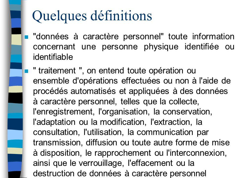 Quelques définitions n
