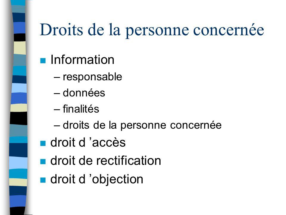Droits de la personne concernée n Information –responsable –données –finalités –droits de la personne concernée n droit d accès n droit de rectificati