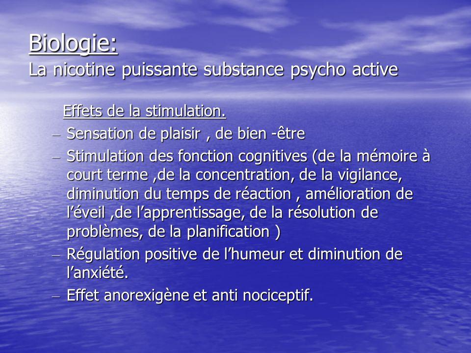 Biologie: La nicotine puissante substance psycho active Effets de la stimulation.