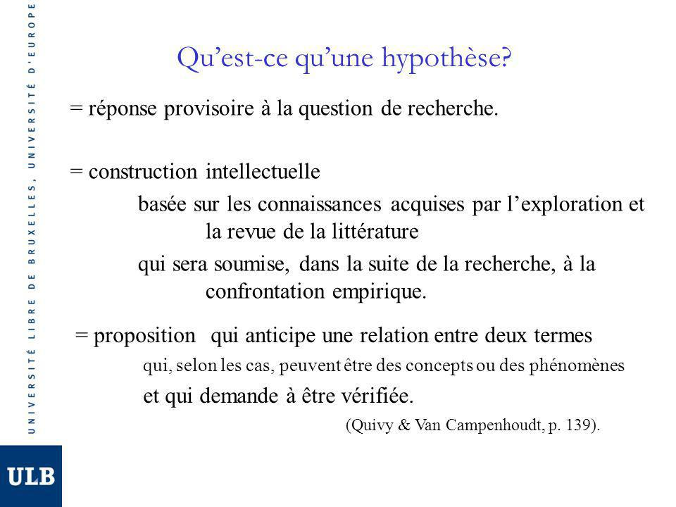 Quest-ce quune hypothèse. = réponse provisoire à la question de recherche.