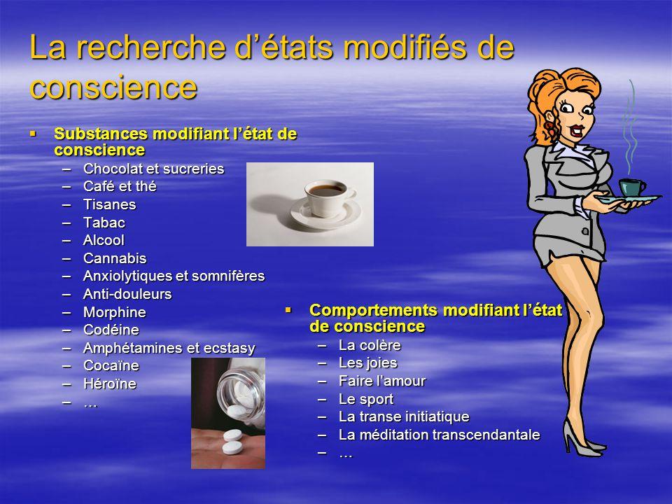 La recherche détats modifiés de conscience Substances modifiant létat de conscience Substances modifiant létat de conscience –Chocolat et sucreries –C