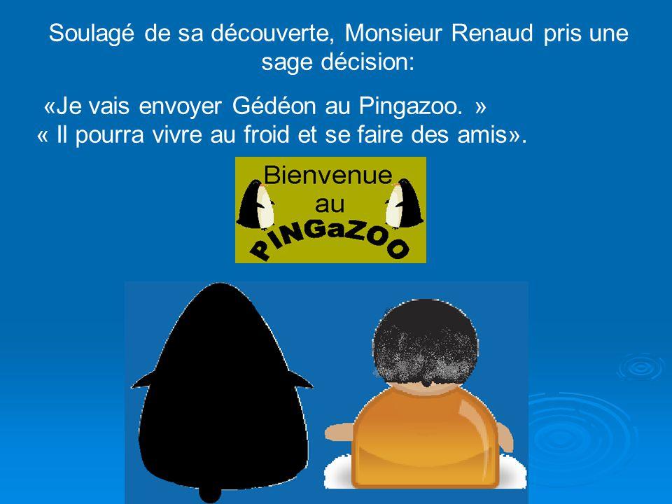 En parcourant les pages, Monsieur Renaud trouva une nouvelle information: «Les pingouins ne peuvent vivre seuls.» Il comprenait maintenant la cause de