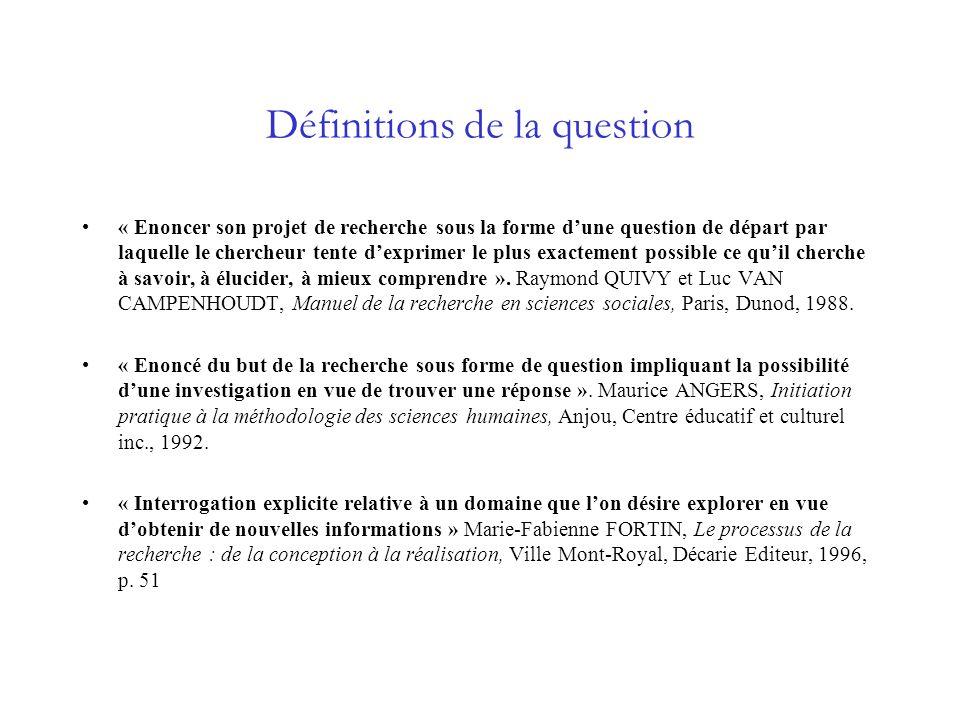 Définitions de la question « Enoncer son projet de recherche sous la forme dune question de départ par laquelle le chercheur tente dexprimer le plus e