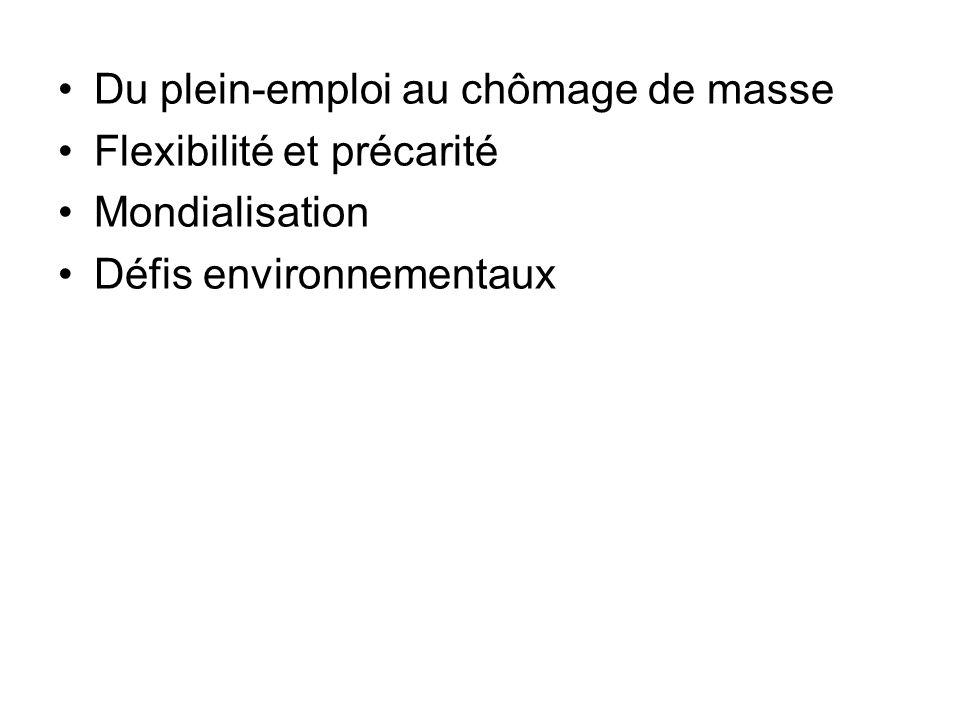 Du plein-emploi au chômage de masse Flexibilité et précarité Mondialisation Défis environnementaux