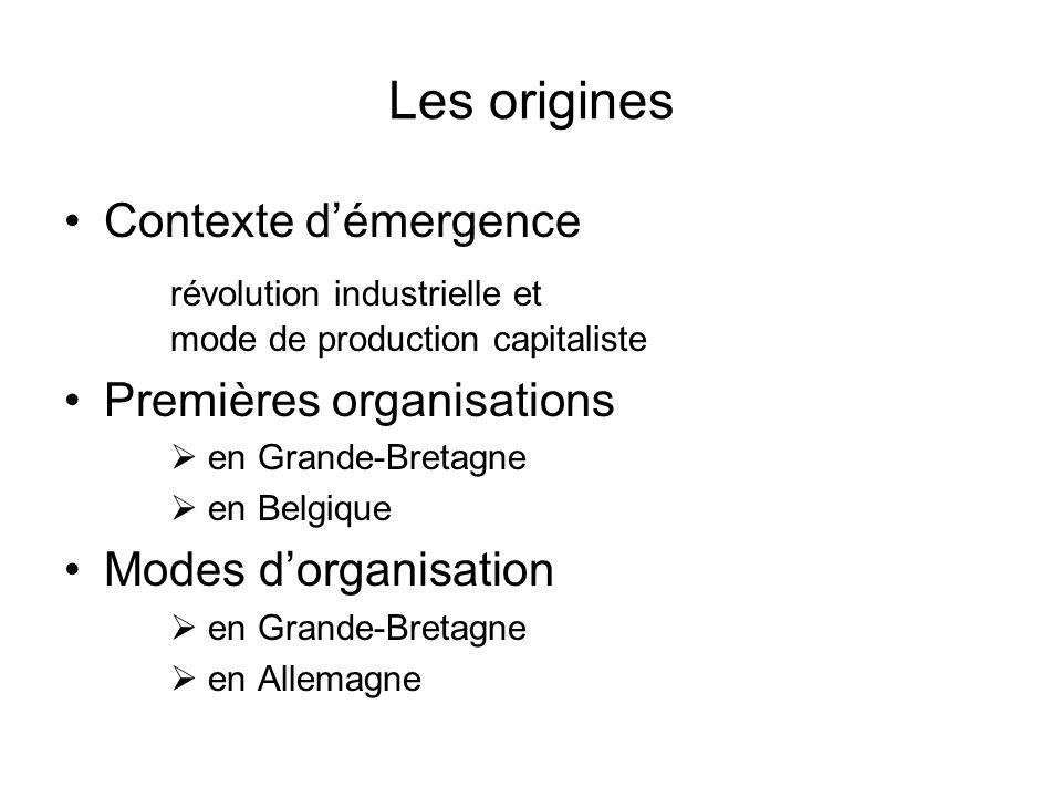 Les origines Contexte démergence révolution industrielle et mode de production capitaliste Premières organisations en Grande-Bretagne en Belgique Modes dorganisation en Grande-Bretagne en Allemagne