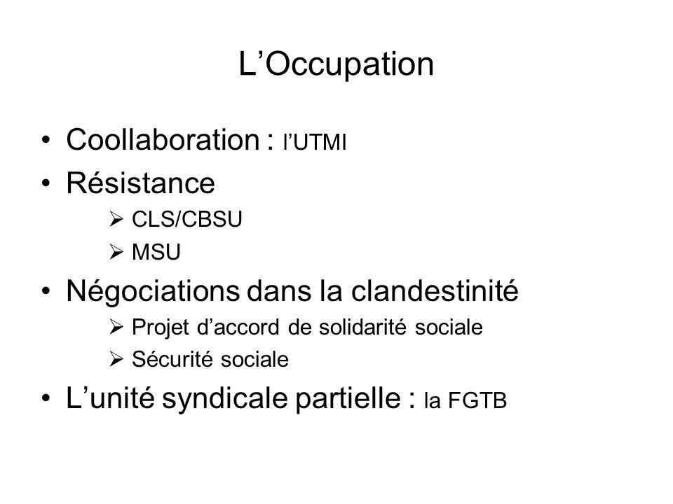 LOccupation Coollaboration : lUTMI Résistance CLS/CBSU MSU Négociations dans la clandestinité Projet daccord de solidarité sociale Sécurité sociale Lunité syndicale partielle : la FGTB