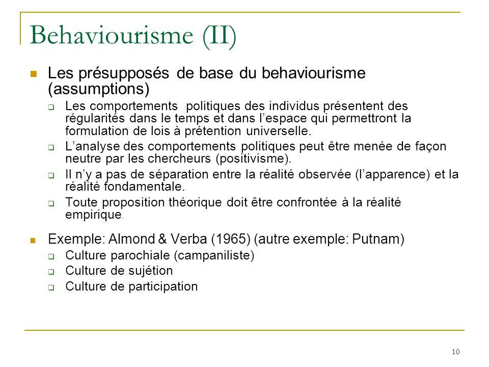 10 Behaviourisme (II) Les présupposés de base du behaviourisme (assumptions) Les comportements politiques des individus présentent des régularités dan