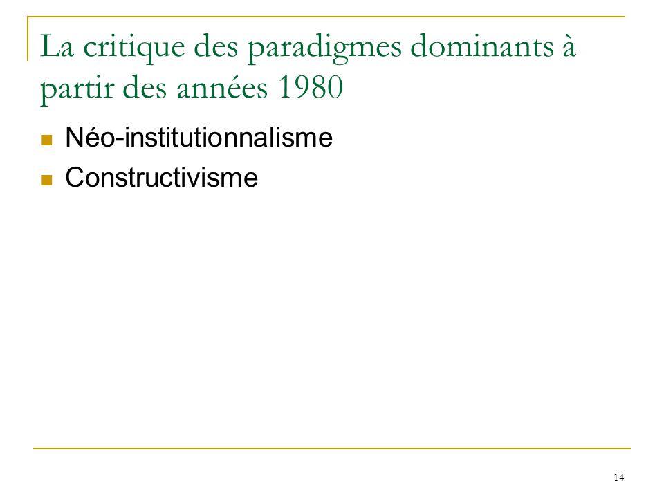 14 La critique des paradigmes dominants à partir des années 1980 Néo-institutionnalisme Constructivisme