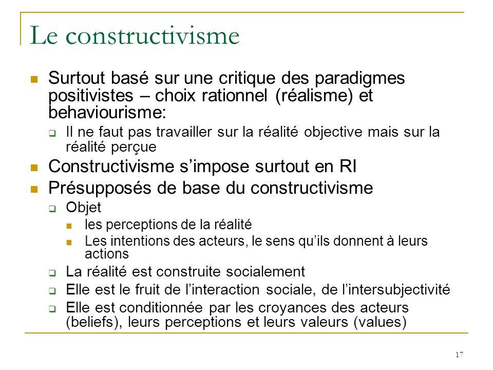 17 Le constructivisme Surtout basé sur une critique des paradigmes positivistes – choix rationnel (réalisme) et behaviourisme: Il ne faut pas travaill