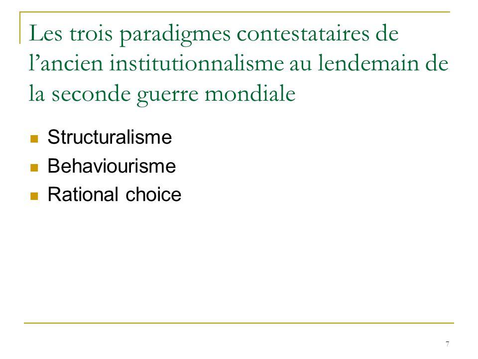 7 Les trois paradigmes contestataires de lancien institutionnalisme au lendemain de la seconde guerre mondiale Structuralisme Behaviourisme Rational c