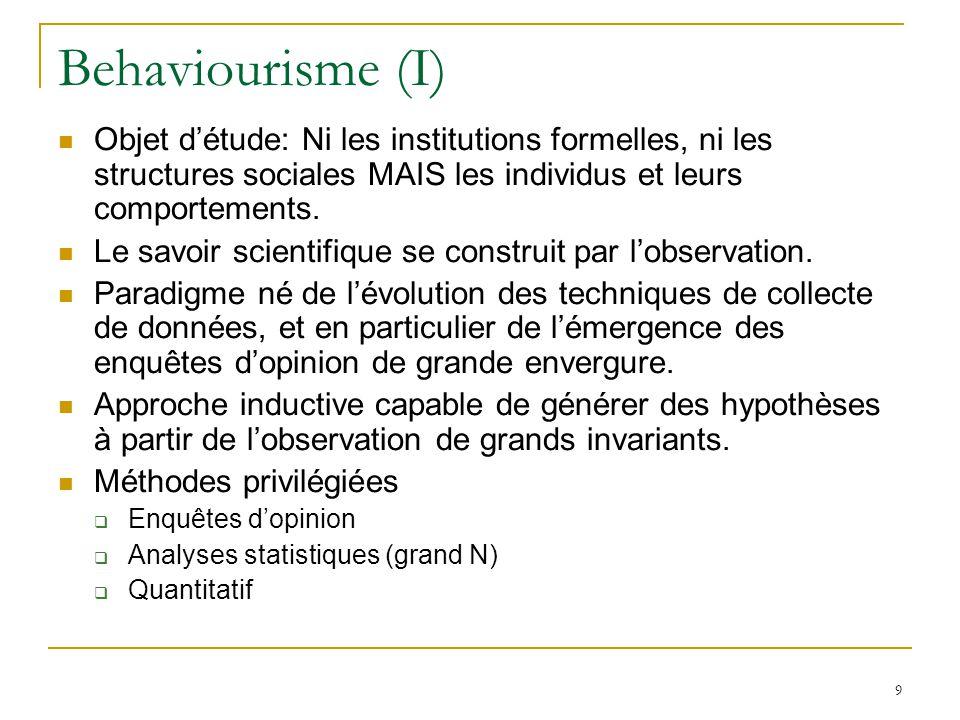 9 Behaviourisme (I) Objet détude: Ni les institutions formelles, ni les structures sociales MAIS les individus et leurs comportements. Le savoir scien
