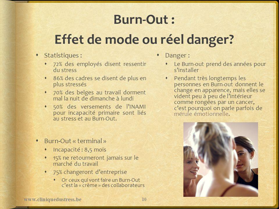 Burn-Out : Effet de mode ou réel danger? Statistiques : 72% des employés disent ressentir du stress 86% des cadres se disent de plus en plus stressés