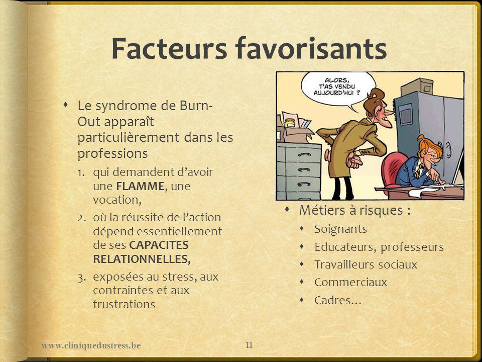 Facteurs favorisants Le syndrome de Burn- Out apparaît particulièrement dans les professions 1.qui demandent davoir une FLAMME, une vocation, 2.où la