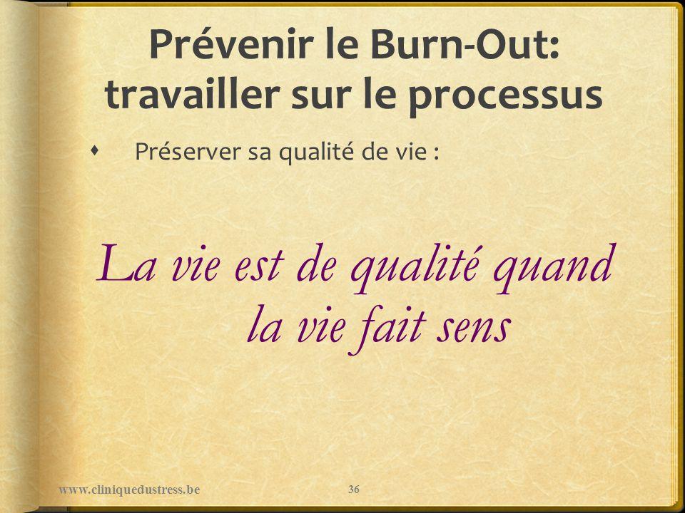 Prévenir le Burn-Out: travailler sur le processus Préserver sa qualité de vie : La vie est de qualité quand la vie fait sens www.cliniquedustress.be 3