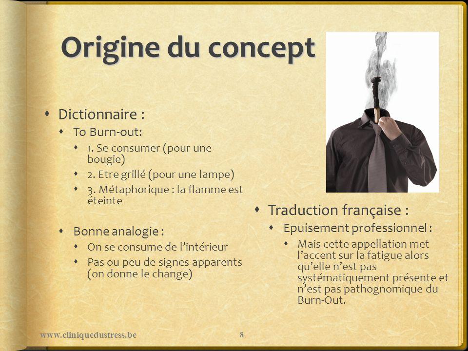 Origine du concept Dictionnaire : To Burn-out: 1. Se consumer (pour une bougie) 2. Etre grillé (pour une lampe) 3. Métaphorique : la flamme est éteint