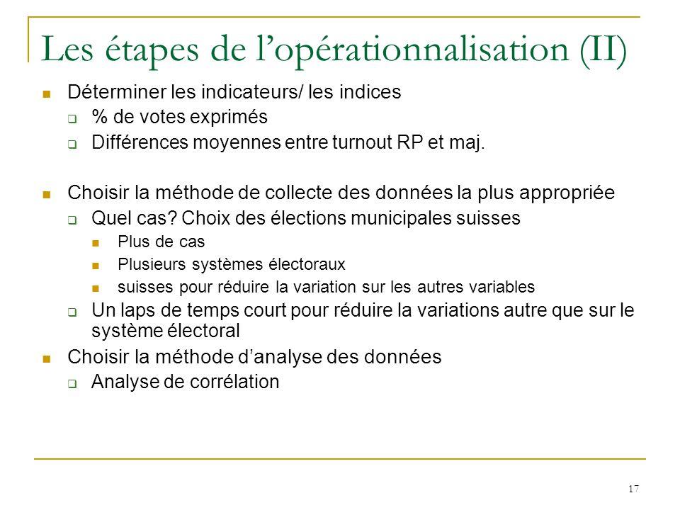 17 Les étapes de lopérationnalisation (II) Déterminer les indicateurs/ les indices % de votes exprimés Différences moyennes entre turnout RP et maj. C