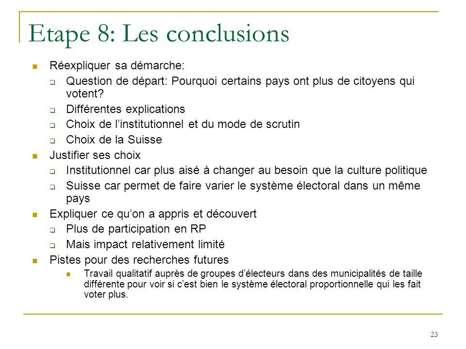 23 Etape 8: Les conclusions Réexpliquer sa démarche: Question de départ: Pourquoi certains pays ont plus de citoyens qui votent? Différentes explicati