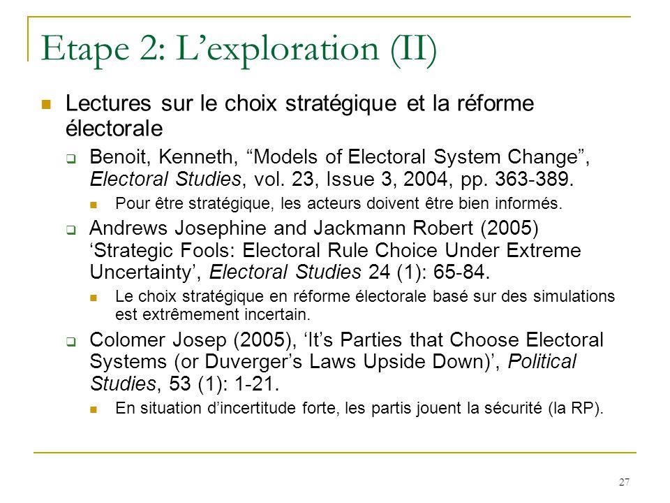 27 Etape 2: Lexploration (II) Lectures sur le choix stratégique et la réforme électorale Benoit, Kenneth, Models of Electoral System Change, Electoral