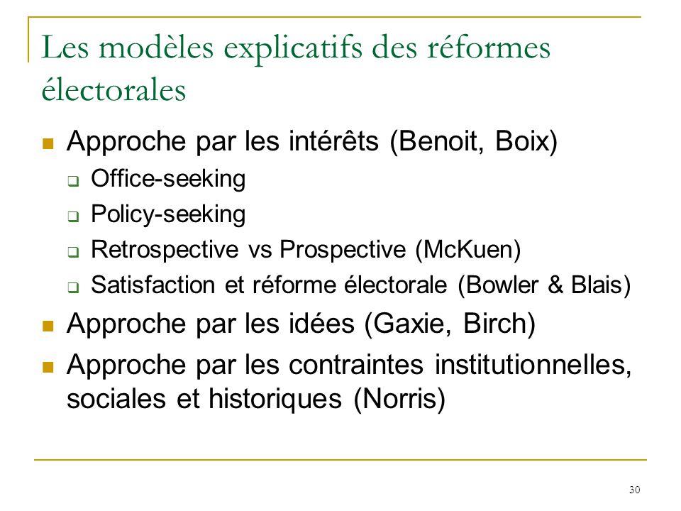 30 Les modèles explicatifs des réformes électorales Approche par les intérêts (Benoit, Boix) Office-seeking Policy-seeking Retrospective vs Prospectiv