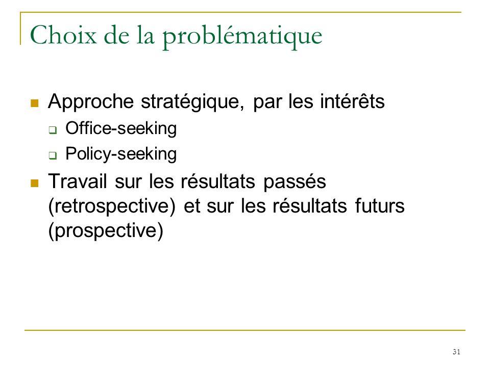 31 Choix de la problématique Approche stratégique, par les intérêts Office-seeking Policy-seeking Travail sur les résultats passés (retrospective) et