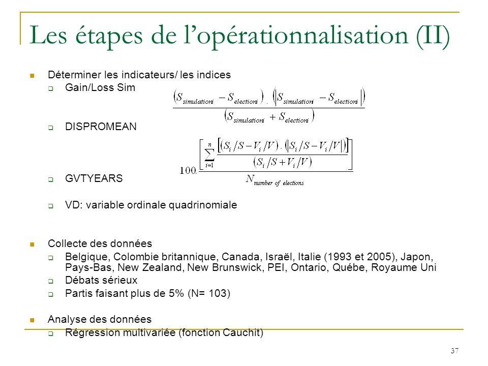 37 Les étapes de lopérationnalisation (II) Déterminer les indicateurs/ les indices Gain/Loss Sim DISPROMEAN GVTYEARS VD: variable ordinale quadrinomia