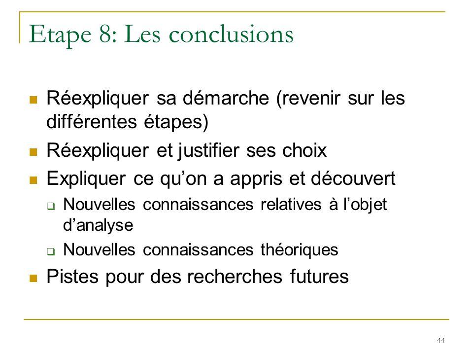 44 Etape 8: Les conclusions Réexpliquer sa démarche (revenir sur les différentes étapes) Réexpliquer et justifier ses choix Expliquer ce quon a appris