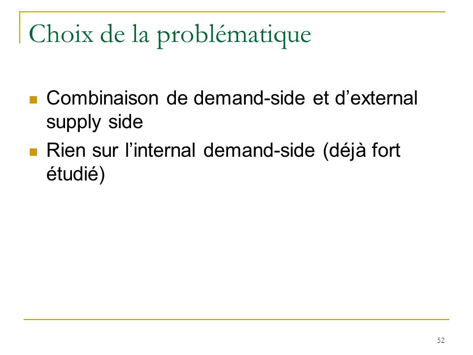 52 Choix de la problématique Combinaison de demand-side et dexternal supply side Rien sur linternal demand-side (déjà fort étudié)