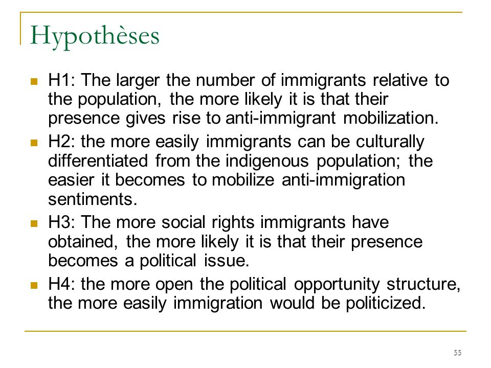 55 Hypothèses H1: The larger the number of immigrants relative to the population, the more likely it is that their presence gives rise to anti-immigra