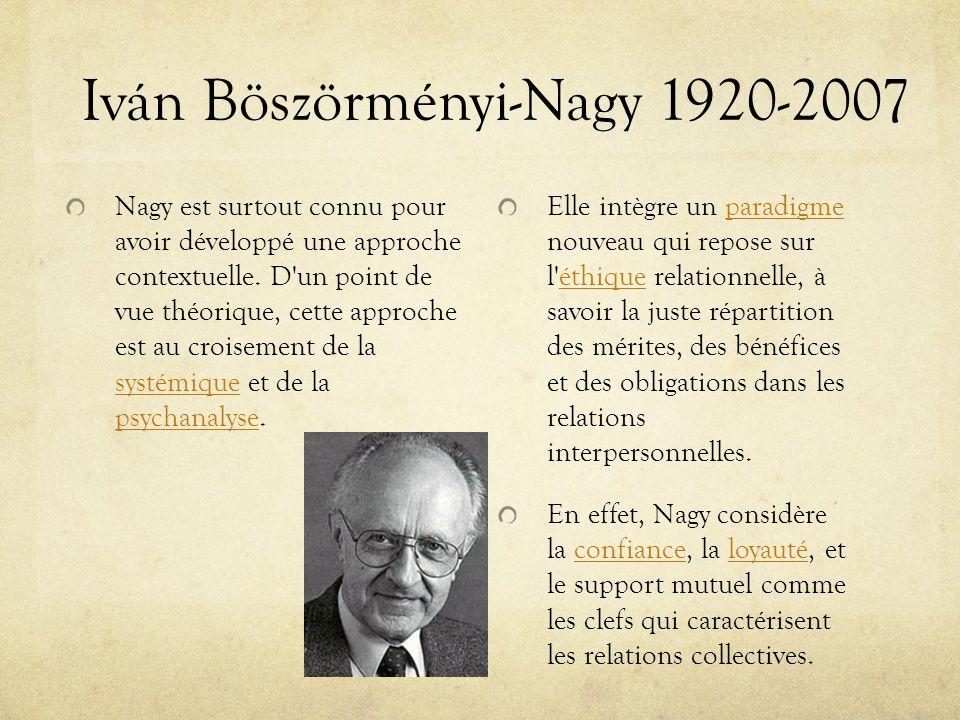Iván Böszörményi-Nagy 1920-2007 Nagy est surtout connu pour avoir développé une approche contextuelle. D'un point de vue théorique, cette approche est