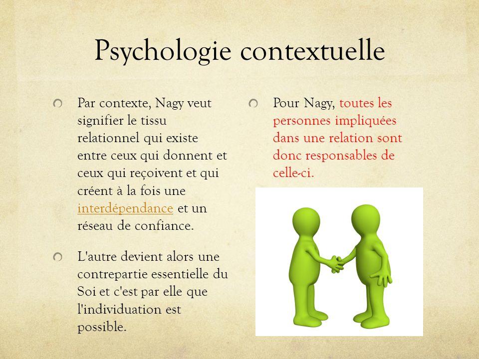 Psychologie contextuelle Par contexte, Nagy veut signifier le tissu relationnel qui existe entre ceux qui donnent et ceux qui reçoivent et qui créent