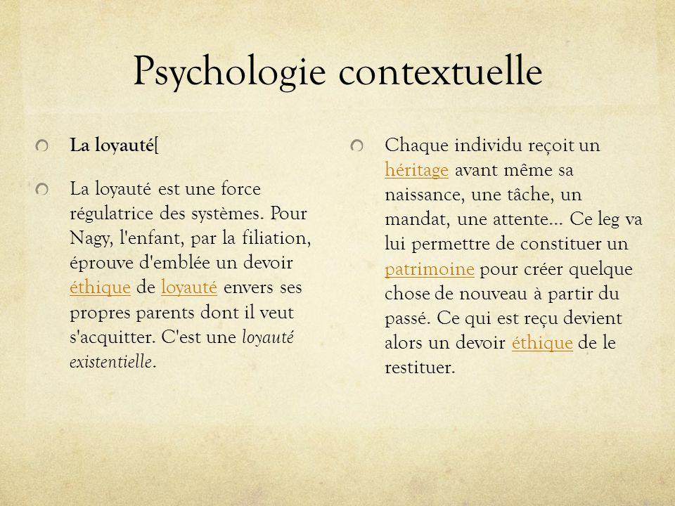 Psychologie contextuelle La loyauté [ La loyauté est une force régulatrice des systèmes. Pour Nagy, l'enfant, par la filiation, éprouve d'emblée un de