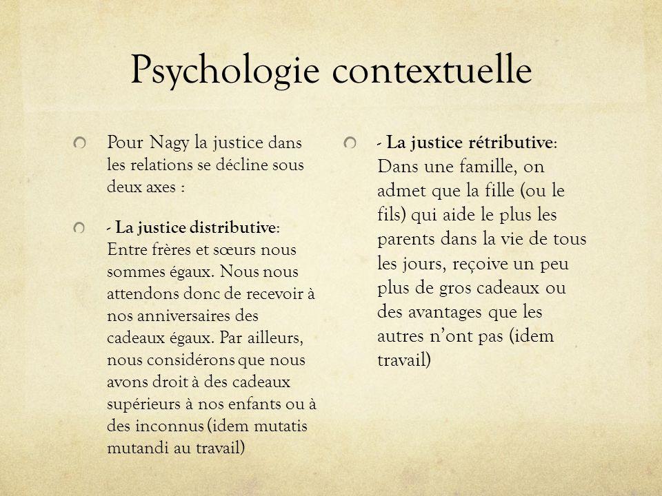 Psychologie contextuelle Pour Nagy la justice dans les relations se décline sous deux axes : - La justice distributive : Entre frères et sœurs nous so