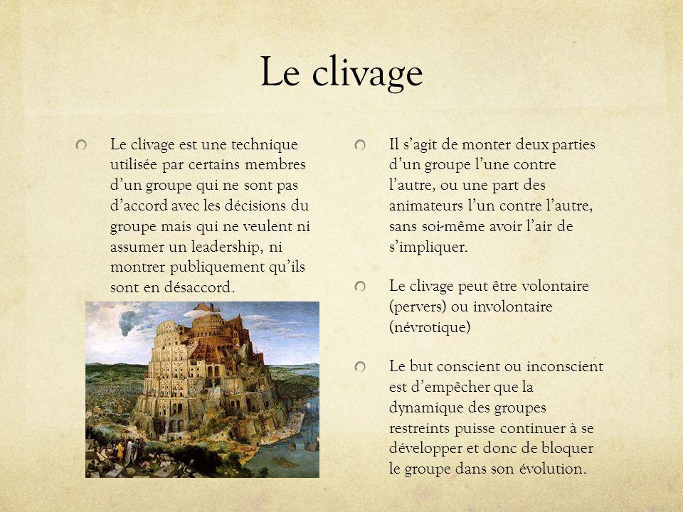 Le clivage Le clivage est une technique utilisée par certains membres dun groupe qui ne sont pas daccord avec les décisions du groupe mais qui ne veul