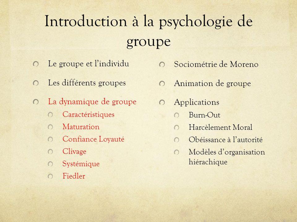 Introduction à la psychologie de groupe Le groupe et lindividu Les différents groupes La dynamique de groupe Caractéristiques Maturation Confiance Loy