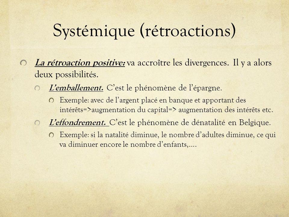 Systémique (rétroactions) La rétroaction positive: va accroître les divergences. Il y a alors deux possibilités. Lemballement. Cest le phénomène de lé