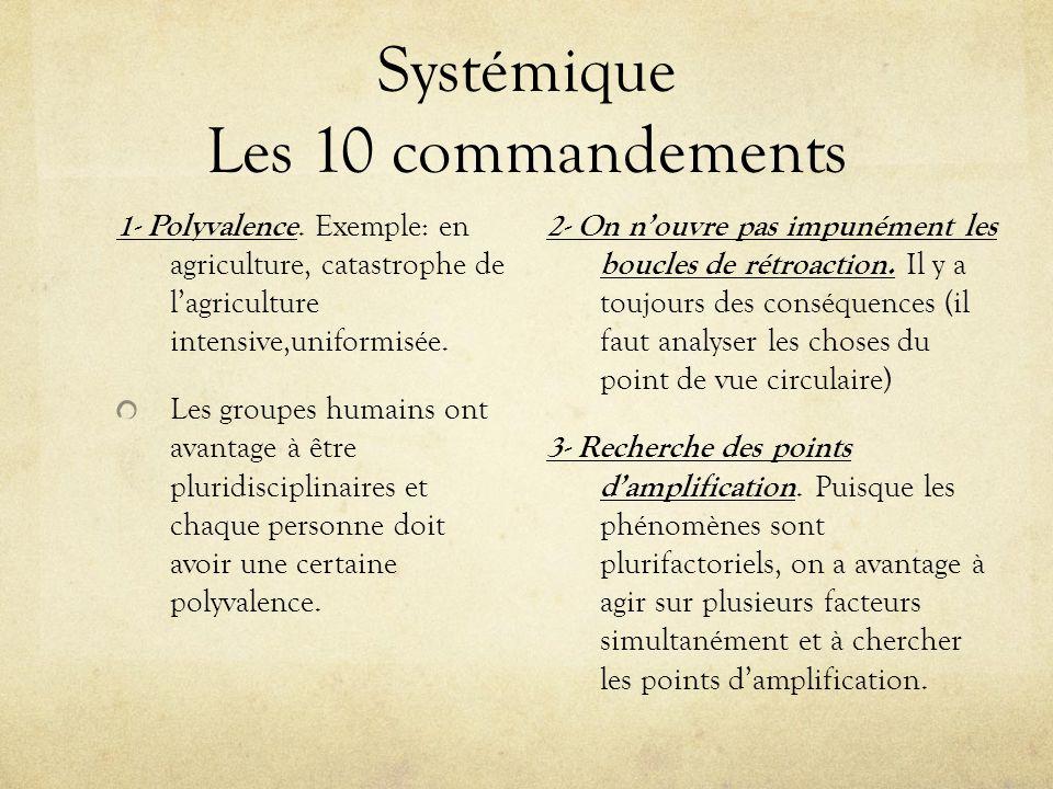 Systémique Les 10 commandements 1- Polyvalence. Exemple: en agriculture, catastrophe de lagriculture intensive,uniformisée. Les groupes humains ont av